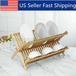 2 Tier Foldable Dish Rack Collapsible Bamboo Drying Dish Rack Kitchen Home US $23.00