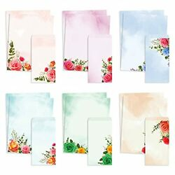 Stationery Paper and Envelopes Set of 48 Rose Watercolor Letter Writing $20.75
