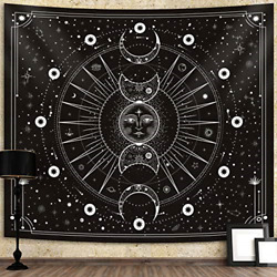 Sun Moon Tapestry Wall Hanging Stars Space Psychedelic Black and White Wall for $15.36