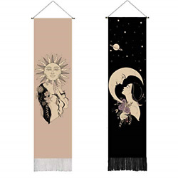 2 pack bohemain decor luxury psychedelic sun and moon tapestry wall hanging for $27.86