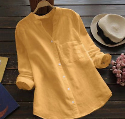 Summer women#x27;s clothing tops cotton and linen solid color casual shirts $49.99