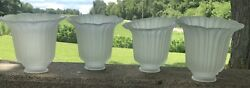 """Vintage scalloped ribbed frosted glass chandelier shades 4 6 x 5 1 2 x 6"""" Nice $45.00"""