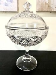 Antique Crystal Compote Candy Dish Apothecary Jar $37.99