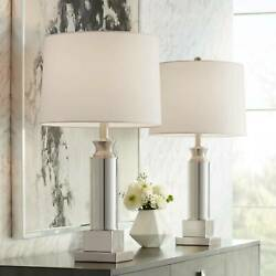 Table Lamps Set of 2 with USB Mercury Glass Silver Drum Shade for Living Room $99.95