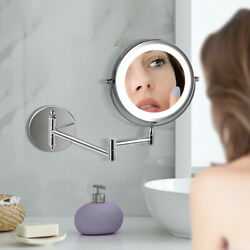 5 x Magnifying LED Chrome Wall Mounted Bathroom Mirror Shaving Make Up Round GBP 18.99