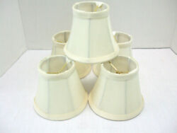 Chandelier Lamp Wall Sconce clip on 4quot; Mini Shades Tan Color Fabric Set of 5 $24.95
