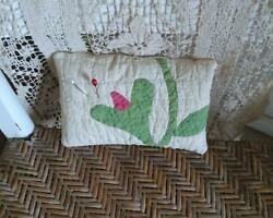 Antique Red Bud Quilt Appliqued Pillow Pin Keep $17.50