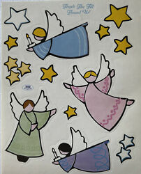 ANGELS ARE ALL AROUND US Stickers 14pc Christmas•Holiday •Stars•Flying•Candle $2.69