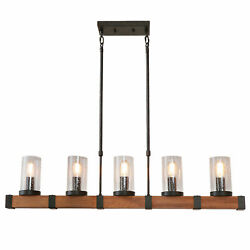 Farmhouse Metal Pendant Lamp with Glass Shade Retro Rustic Chandelier 5 Lights $182.65