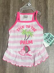"""Simply Wag Dog Pink Stripes Dress """" TALK TO THE PALM """" SMALL $14.00"""