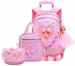 Meetbelify Gilrs Rolling Backpack Backpacks with Wheels for Girls for Pink $95.90