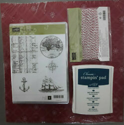 Stampin' Up The Open Sea Clear Mount Stamps 12 x 12 Paper String Navy Ink Unused $22.99