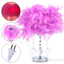 Purple Feather W Crystal Pendant Table Lamp Unique Modern Bedside Night Lighting $29.15