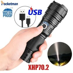180000LM XHP70.2 Powerful LED Flashlight Rechargeable USB Zoomable Torch 26650 $16.99