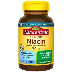 Nature Made Niacin 500mg Flush Free 60 Softgels Helps Support Nervous System F $41.27