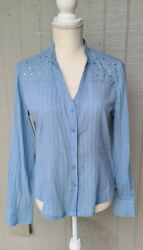 Blue Button Down Casual Reba Shirt Size Small With Sequins On Shoulders v neck $6.00