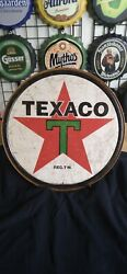 TEXACO GAS AND OIL ROUND TIN SIGN RUSTIC METAL GAS STATION WALL ART $11.00