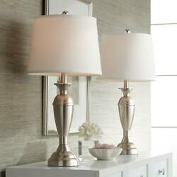 Traditional Table Lamps Set of 2 with WiFi Smart Sockets Brushed Nickel Bedroom $89.98