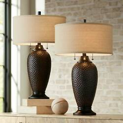 Modern Table Lamps Set of 2 with WiFi Smart Sockets Hammered Bronze for Bedroom $129.94