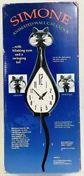 Simone Animated Wall Cat Clock w Swimming Tail amp; Moving Eyes Black *DISCOUNT $45.99