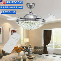 """3 Speeds 3 Colors 42""""Crystal Ceiling Fan Light Retractable Blades Remote Control $119.99"""