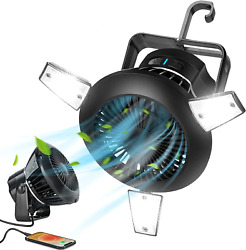 Solar Camping Fans for Tents Tent Fan Light Combo5000mAh 4 Speeds Rechargeable $33.46