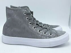 NWOB CONVERSE ALL STAR WOMENS GREY LEATHER SILVER GLITTER HIGH TOP SHOES SZ 6 $29.97