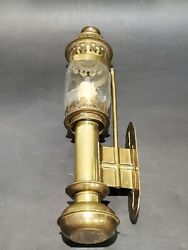 ANTIQUE RAILROAD CAR BRASS amp; GLASS WALL CANDLE SCONCE LAMP C $89.00