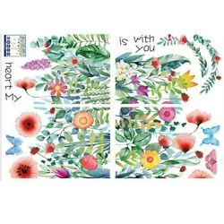 Sticker Wall Sticker Tile Mural Plant Tropical Wall Butterfly Decoration $12.25