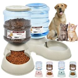 AUTOMATIC PET FOOD Self DISPENSER Large Dog Cat Feeder Waterer Auto Dish Bowl $15.49