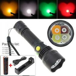 4 Color LED Tactical Flashlight Rechargeable Camping Hiking Hunting Flashlight $18.22