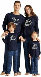IFFEI Matching Family Pajamas Sets Christmas Blue Let It Snow men Size Large $14.92