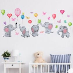 Kids Wall Stickers Cute Baby Elephants Balloons Butterflies Self Adhesive Decal $15.00