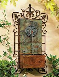 Rustic Outdoor Wall Water Fountain with Light LED 33quot; Medallion for Garden Home $199.99