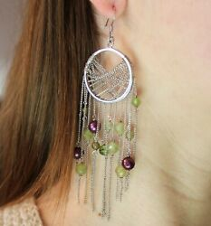 Peridot and Dyed Pearls Dream Catcher Chandelier Earrings Sterling Silver $79.95