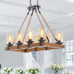 8 Light Wood Chandelier for Rustic Farmhouse Dining Room Kitchen Rustic Light $268.12