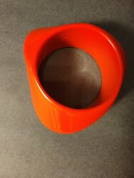 Vintage Asymmetrical Red Wide Lucite Chunky Statement Bangle Bracelet $38.99