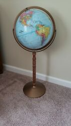 Replogle World Series 12quot; globe turned wood stand raised relief $90.00