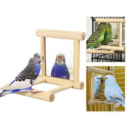 Bird Toy Cage Swing Chewing Wooden Mirror for Parrot Parakeet Cockatiel Conure $7.48