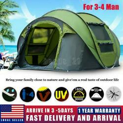 3 4 Person Automatic Pop Up Tent Waterproof Outdoor Large Camping Hiking Tent US $69.99