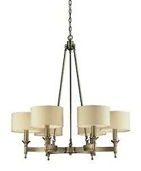 Six Light Chandelier Antique Brass Finish With Tan Fabric Shade Chandelier $336.00