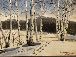 Tatarinov Famous Russian artist oil Vintage Snow Scene Signed And Dated 1957 $105.00