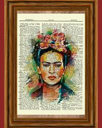 Frida Kahlo Dictionary Art Print Picture Portrait Collectible Gift $5.98