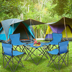 5pcs Camping Folding Table amp; Chair Set Blue Oxford Cloth Steel Portable Foldable $57.59