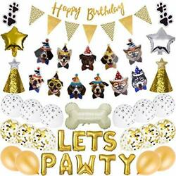 GIEMSON Dog Birthday Party Supplies Dog Paw Print Balloons Foil Balloons Lets... $29.10