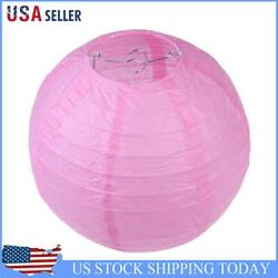 4 inch Round Chinese Paper Lantern DIY Paper Ball Lamp Party Decor Pink $7.49