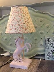 Pink horse equestrain lamp with vintage shade Night Light Led Bulb Up Cycled $53.99