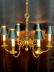 """Vintage Stately Solid Brass Bouillotte Chandelier French Colonial Georgian 26"""" $2350.00"""