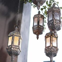 2 4Pack Retro Moroccan Hanging Candle Lantern Holder w 15.7quot; Hanging Chain $47.89