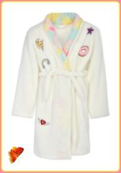 Girls Novelty Coral Fleece Robe with Shawl Collar amp; Sequin Patches sz 14 16 $17.99